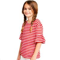 Hayden Girl's Striped Ruffle Sleeve Tee