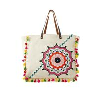Crewel Embroidery Canvas Tassel Tote