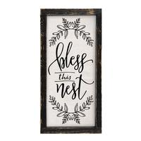 Bless This Nest Framed Linen Sign