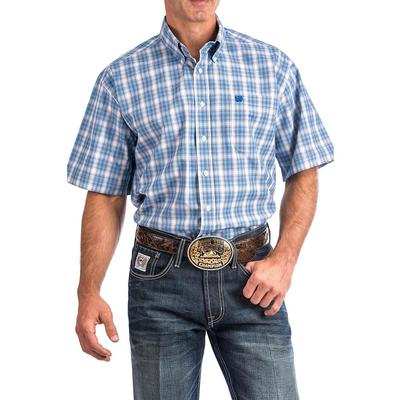 Cinch Men's Blue White And Black Plaid Shirt