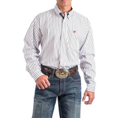 Cinch Men's White And Black Striped Shirt