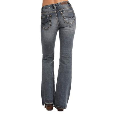 Rock & Roll Denim Women's Extra Stretch Mid Rise Flare Embroidered Jean
