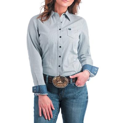 Cinch Women's Light Blue Striped Button- Up Shirt