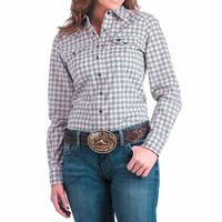 Cinch Women's Pink and Navy Medallion Print Snap Shirt