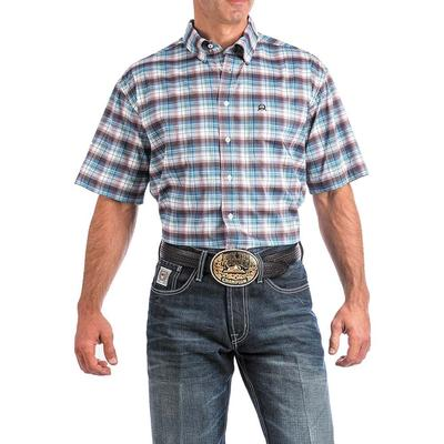 Cinch Men's Burgundy And Turquoise Plaid Arenaflex Shirt