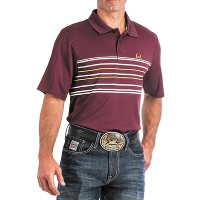 Cinch Men's Burgundy And Lime Arenaflex Polo