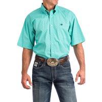 Cinch Men's Turquoise Geometric Print Shirt