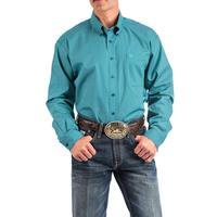 Cinch Men's Navy and Turquoise Dash Geometric Print Shirt