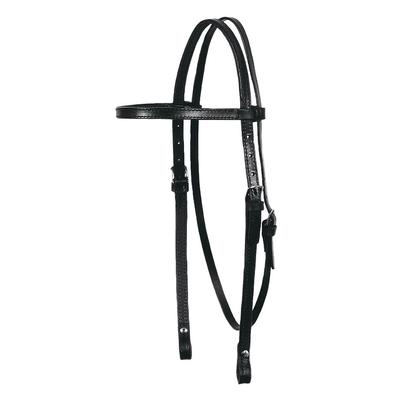 Circle Y Classic Smooth Browband Headstall, Black Leather