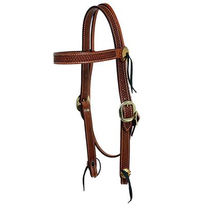 Billy Cook Brass Trim Basketweave Browband Headstall