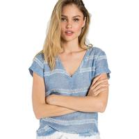 Bella Dahl Women's Blue Frayed Hem V-Neck Tee