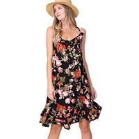 Kori America Women's Bottom Ruffle Floral Dress