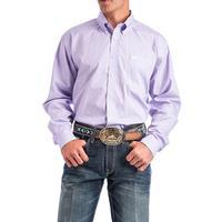 Cinch Men's Lilac and White Geometric Print Shirt