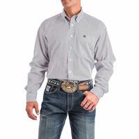 Cinch Men's White and Purple Diamond Print Shirt