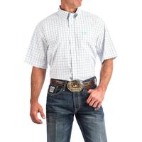 Cinch Men's Turquoise and Navy Tattersall Plaid Short Sleeve Shirt