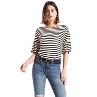 Z Supply Women's Premium Sleek Jersey Striped Ruffle T-Shirt