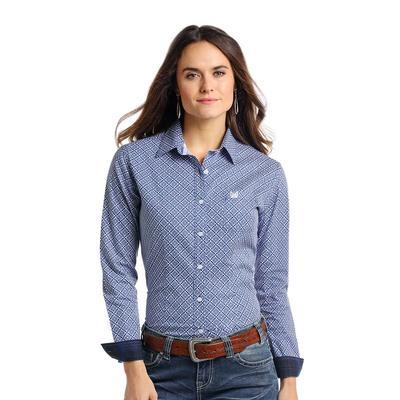 Panhandle Slim Women's Blue and White Printed Rough Stock Shirt