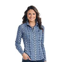 Panhandle Slim Women's Blue and White Printed Rough Stock Snap Shirt