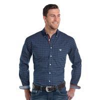 Panhandle Slim Men's Navy Diamond Print Rough Stock Shirt