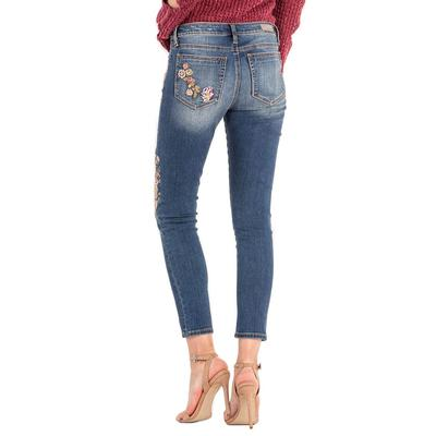 Miss Me Women's Floral Embroidered Mid-Rise Ankle Skinny Jean