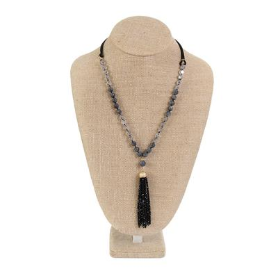 Amazonite and Leather Tassel Necklace BLK