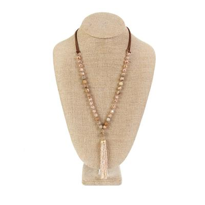 Amazonite and Leather Tassel Necklace TAN