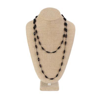 Black Threaded Bead Necklace