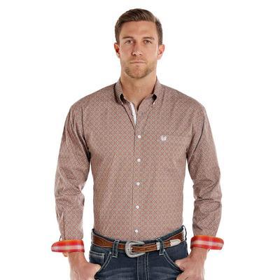 Panhandle Slim Men's Brown and Orange Geometric Printed Rough Stock Shirt