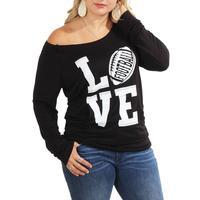 Women's Love Football Off Shoulder Sweater