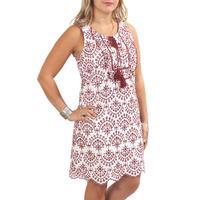 JoyJoy Women's Maroon Embroidered Sleeveless Dress