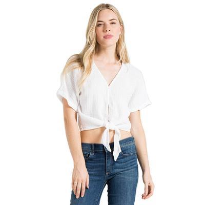 Bella Dahl Women's Short Sleeve Tie Front Top WHITE
