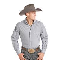 Panhandle Slim Men's Blue and White Geometric Print Tuf Cooper Shirt