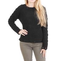 Esqualo Women's Black Distressed Chenille Sweater
