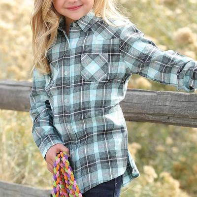 Cruel Girl Girl's Turquoise Brushed Twill Plaid Shirt