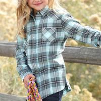 Cruel Girl Girl's Turquoise Brushed Twill Plaid Shirt