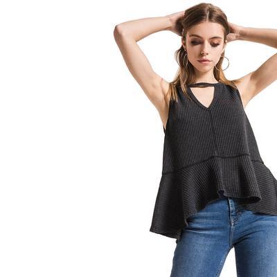 Others Follow Women's Mandy Waffle Knit Cutout Tank