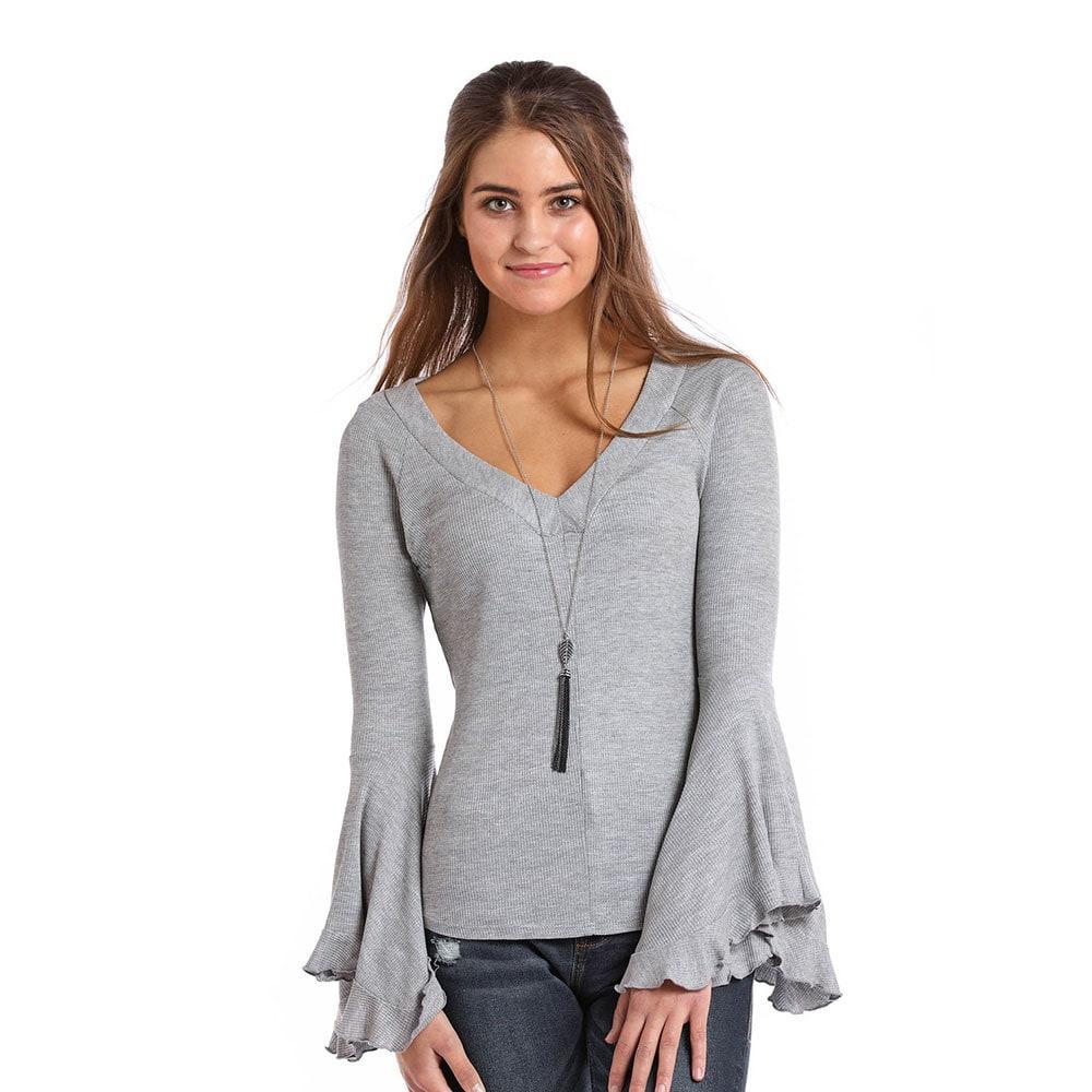 100fe0153670 Panhandle Slim Women's Waffle Knit Bell Sleeve Top