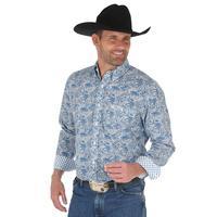 Wrangler Men's Blue Paisley Print George Strait Shirt