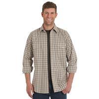 Wrangler Men's Wrinkle Resistant Tan Plaid Shirt