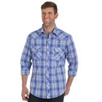 Wrangler Men's Blue and White Retro Snap Shirt