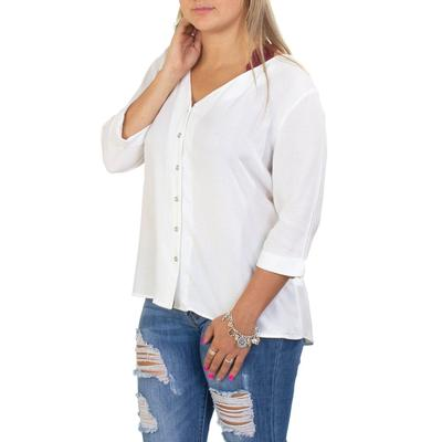 Black Tape's Ivory Button Down Top