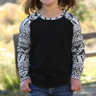 Cruel Girl Girl's Aztec Sleeve Black Sweatshirt