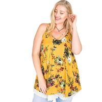 Kori America Women's Plus Crinkle Strap Floral Top