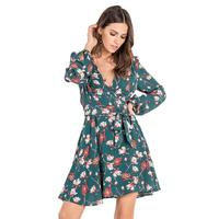 Miss Me Women's Floral Surplice Dress