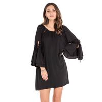 Miss Me Women's Black Boat Neck Shift Dress