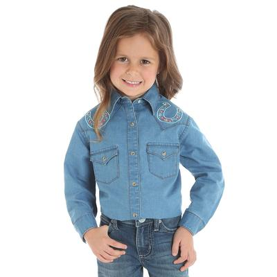 Wrangler Girl's Long Sleeve Horseshoe Denim Snap Shirt