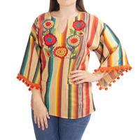Ivy Jane Women's Serape Pom Pom Shirt