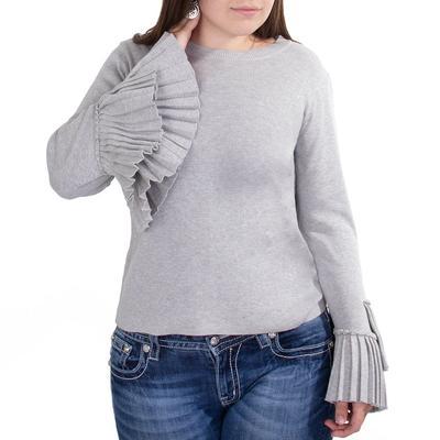 Black Tape Women's Grey Ruffle Bell Sleeve Top
