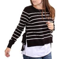 Black Tape Women's Striped Bow Sweater Top