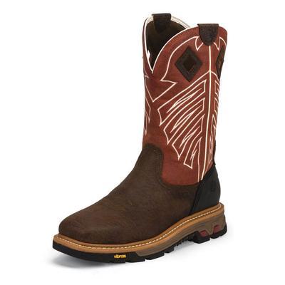 Justin Men's Roughneck Red Pepper Waterproof Work Boots